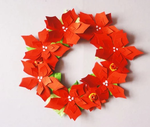 Origami christmas flowers origami tutorial lets make it christmas flower wreath holiday decor present gift origami mightylinksfo