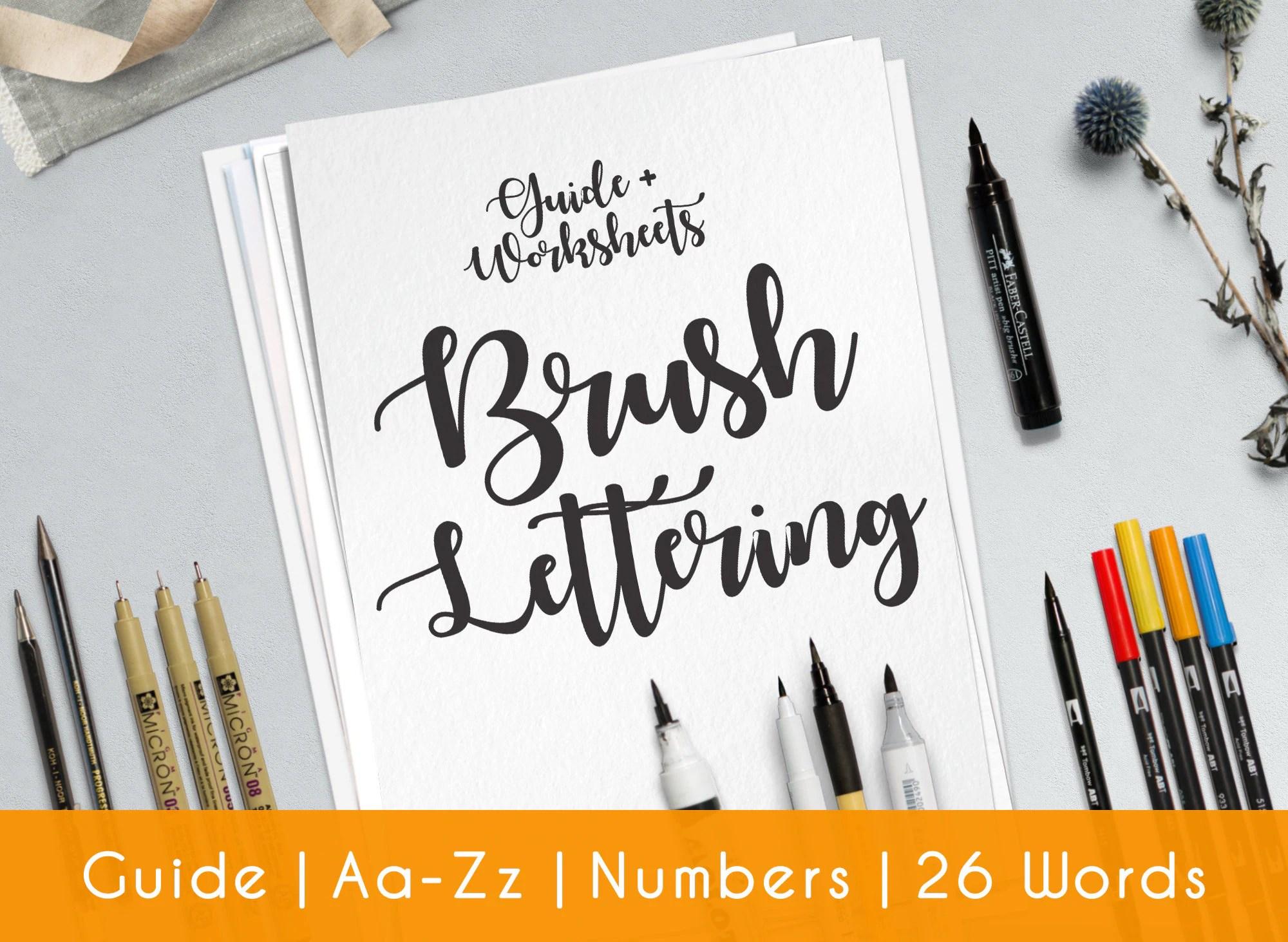 Brush Hand Lettering Worksheets 33 Practice Sheets Guide