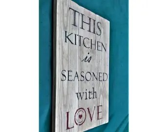 Download This Kitchen is Seasoned with Love Wood Sign with Red Green