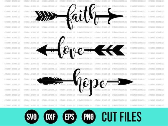 Download Faith Love Hope Arrows SVG SVG Files DXF Cut File