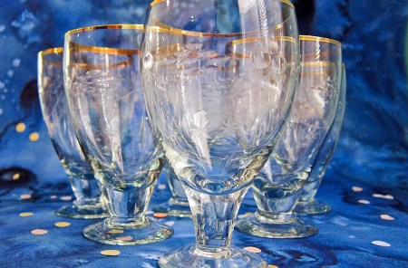 Set of Six Antique Goblets: Etched Crystal Art Deco Stemware With Gold Trim~