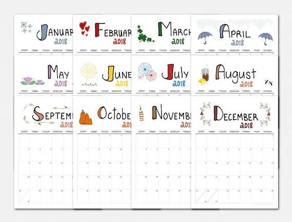 2018 Calendar - Doodles