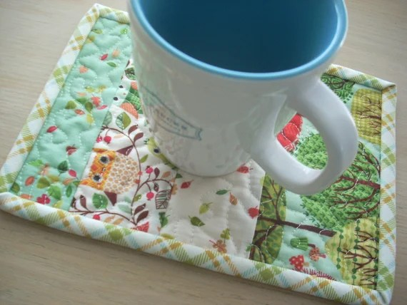 forest friends mug rug - FREE SHIPPING