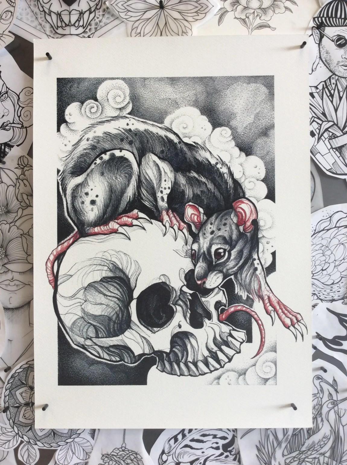 Rat with Skull Graphic Ta...