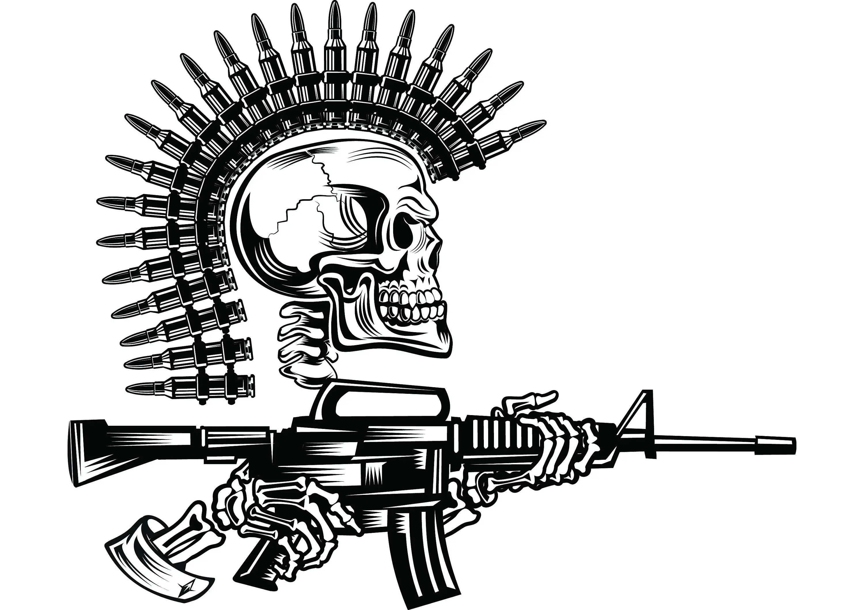 Military Skull 4 Bullet Mohawk Machine Gun Ammunition Ammo