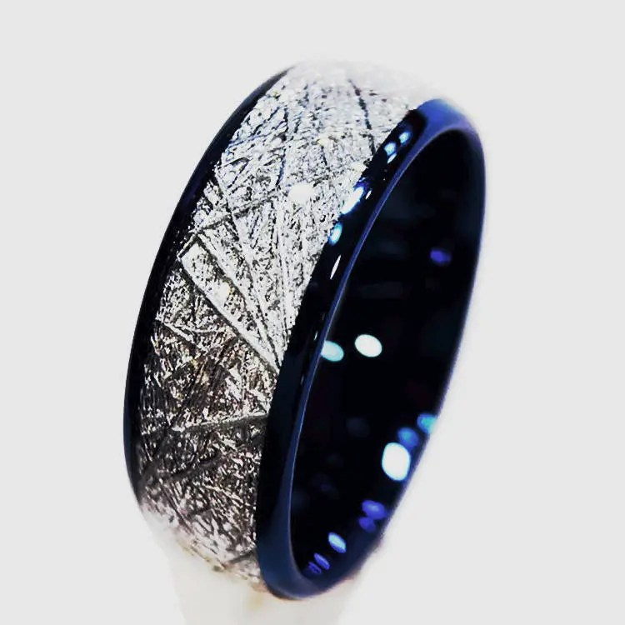 Blue Tungsten Wedding Bands Tungsten Rings Meteorite Inlay