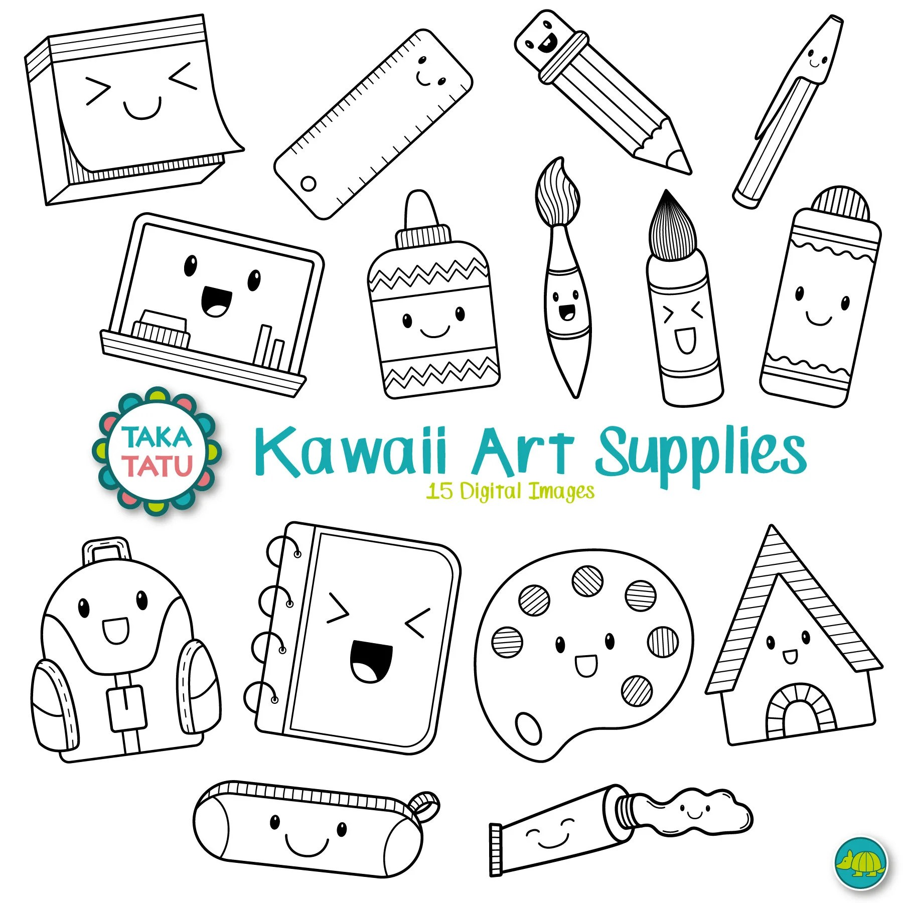 Kawaii Art Supplies Digital Stamp Art Supplies Clip Art