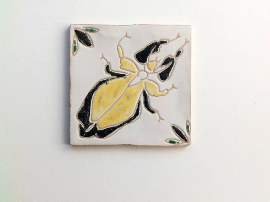 Portuguese decorative tile, Insect decorative tile, rustic handmade tile, yellow and green tile, READY TO SHIP, praying mantids