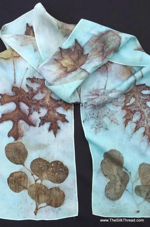 """Ecoprinted Blue Silk Scarf, maple, oak leaf designs & colors imprinted from Nature, 8"""" x 72"""", Natural silk art by artist,OOAK, USA ship FREE"""