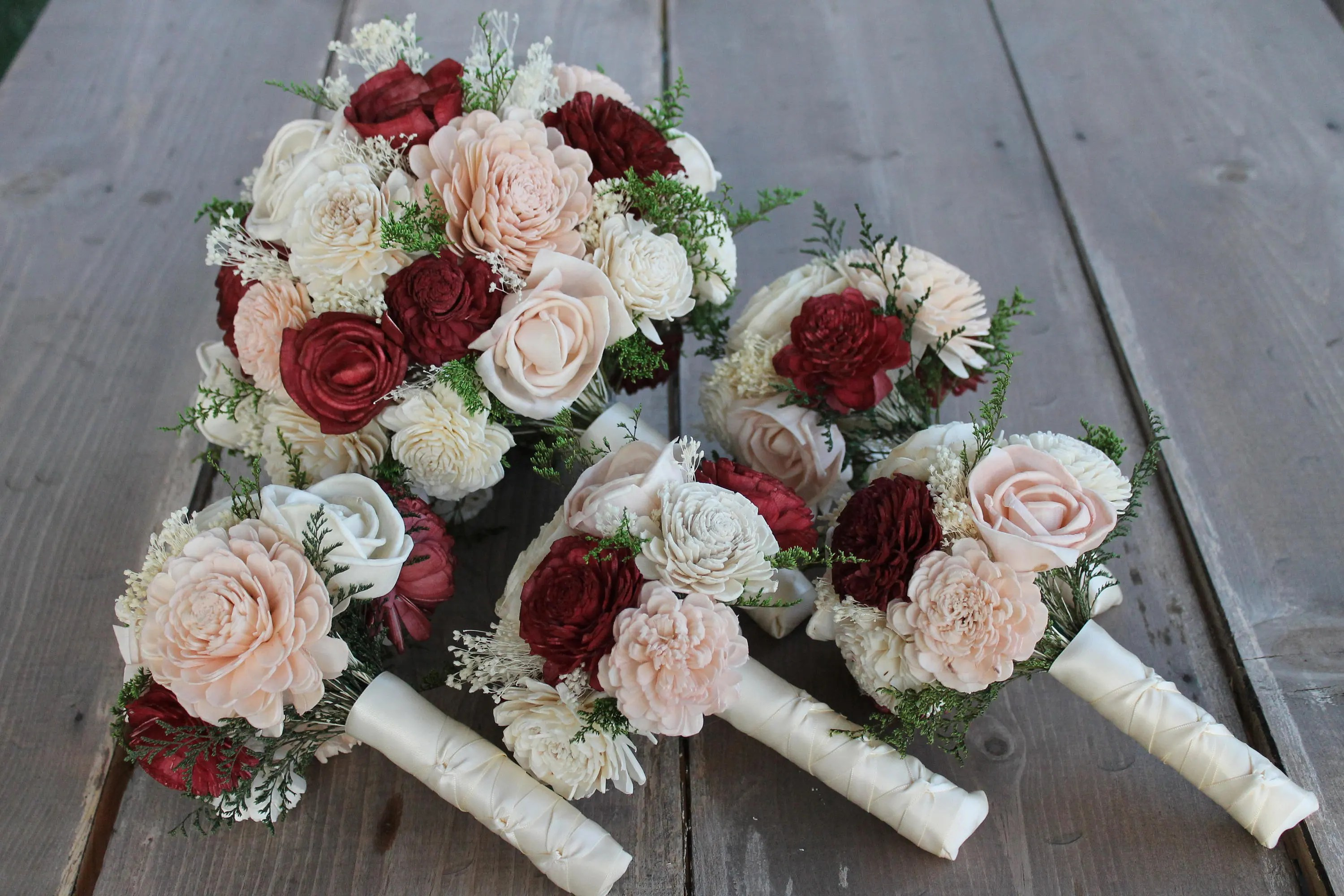 Burgundy Sola Flower Bouquets Burgundy Blush Pink & Cream