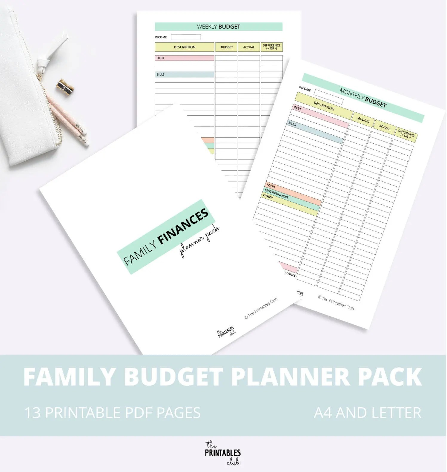 Family Budget Printable Pack Budget Planner Family Finance