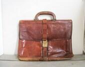 Vintage leather laptop ba...
