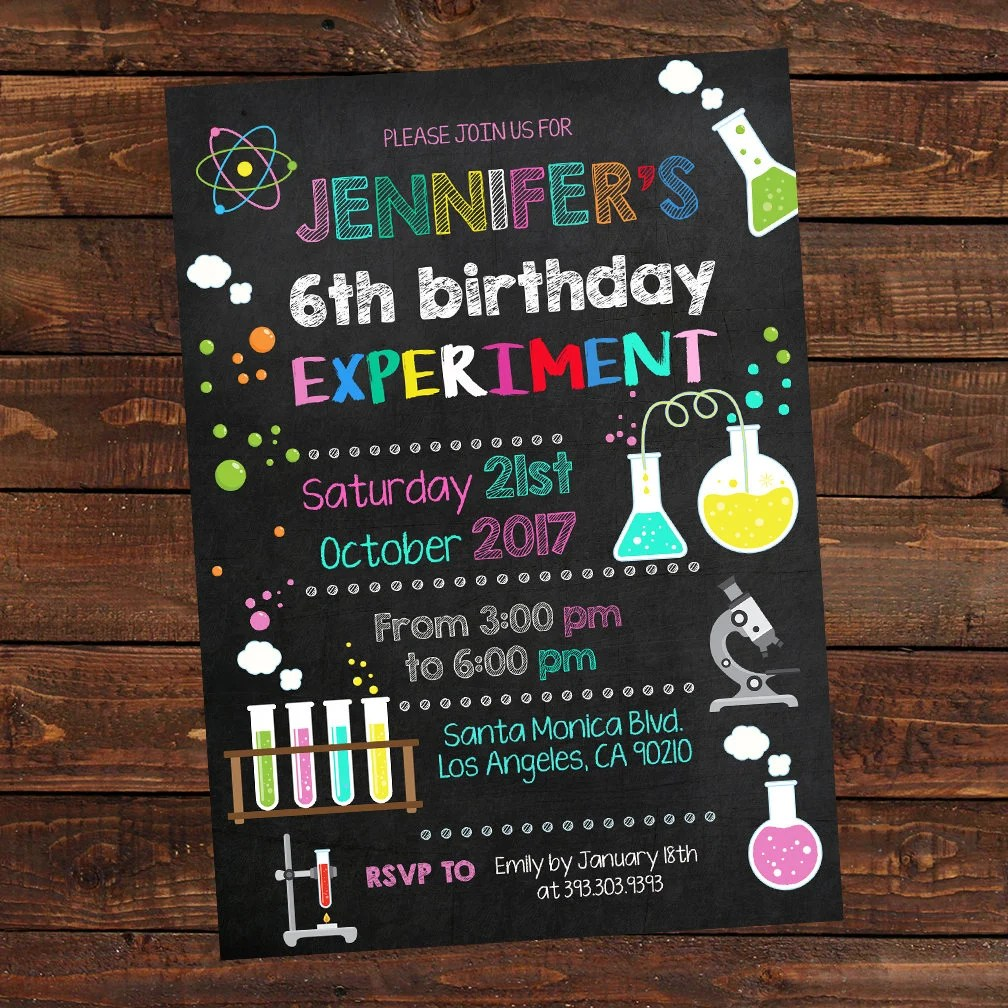 Science Girl Birthday Invitations Mad Science Party