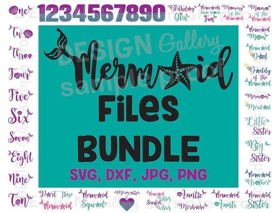 Mermaid Files Bundle SVG DXF Cut Files Amp JPG Png Image