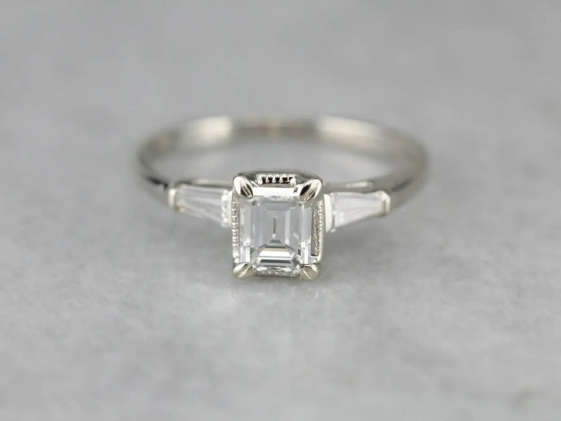 Items similar to Reserved  Not Avail For Purchase  Vintage 0 69ct     Vintage Diamond Engagement Ring  Emerald Cut Diamond  Diamond Ring QAJ2CE N