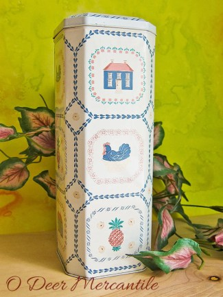 Americana Style Tall Tin Container Made in England for Case Manufacturing Co. NY: Pineapple Chicken Home Motif
