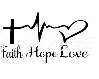 Download Items similar to Faith...Hope...Love Lifeline Heart 8 ...