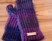 Purple Hand Knitted Finge...