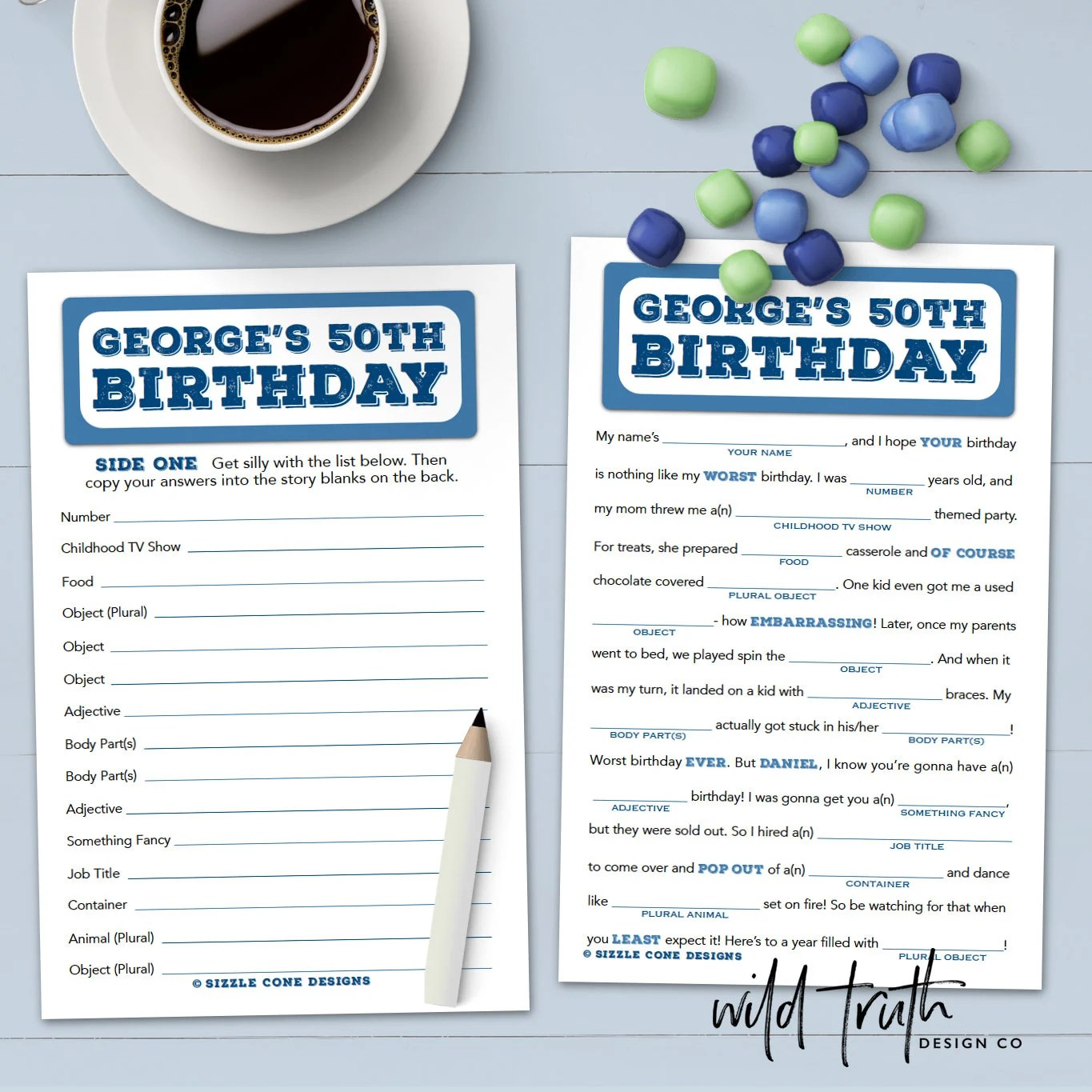 Birthday Mad Lib For Adults Personalized Party Game