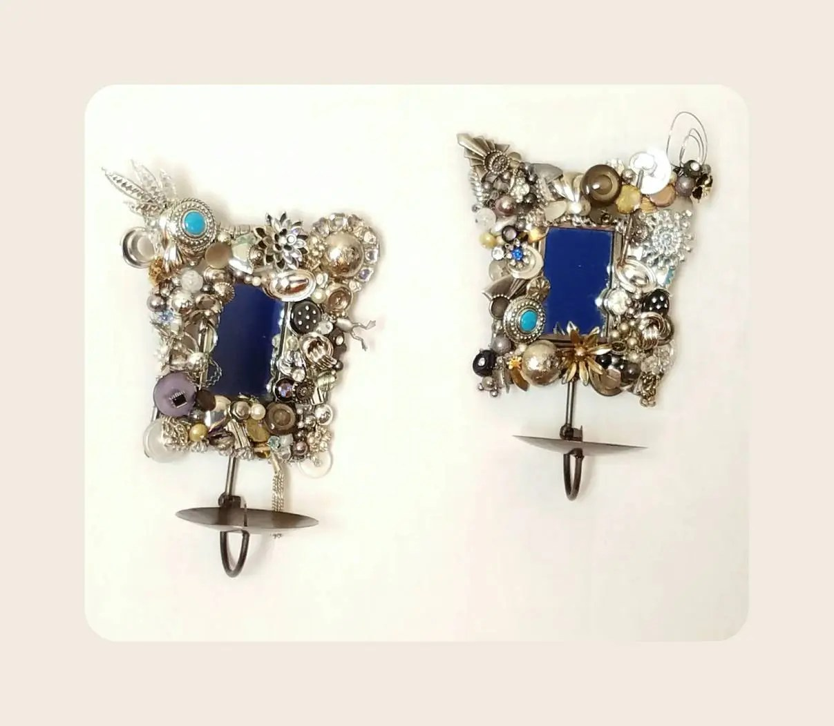 Jeweled Wall Sconces Silver Candle Holders Mixed media on Silver Wall Sconces For Candles id=78577