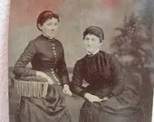 antique tintype of two wo...