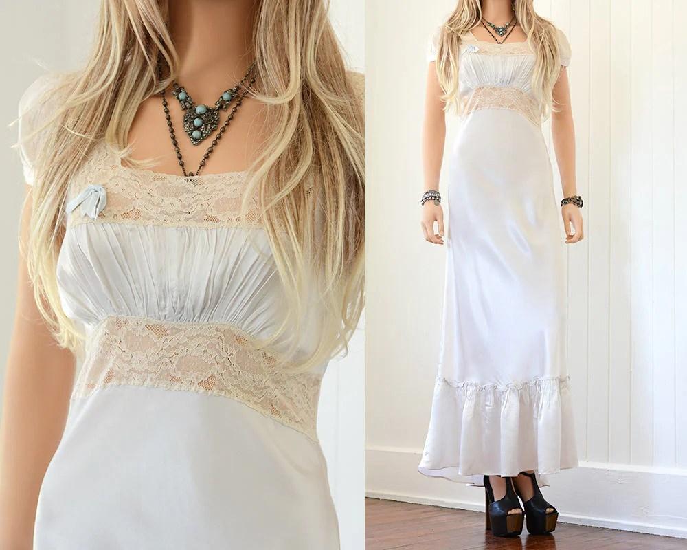 20s Silk Wedding Dress Vintage Wedding Dress Silk Slip Dress