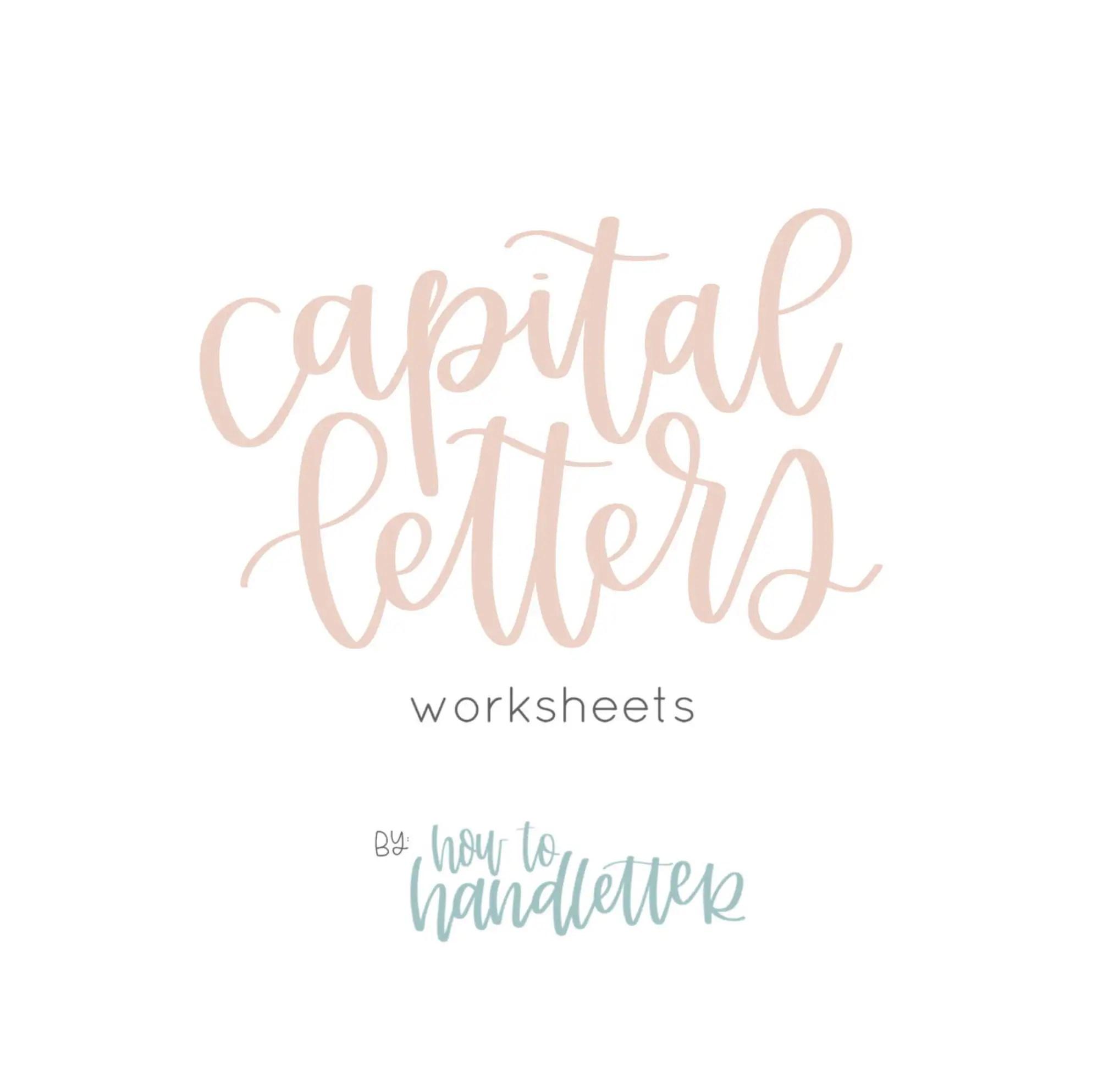 Capital Letters Handlettering Worksheets Printable Lettering
