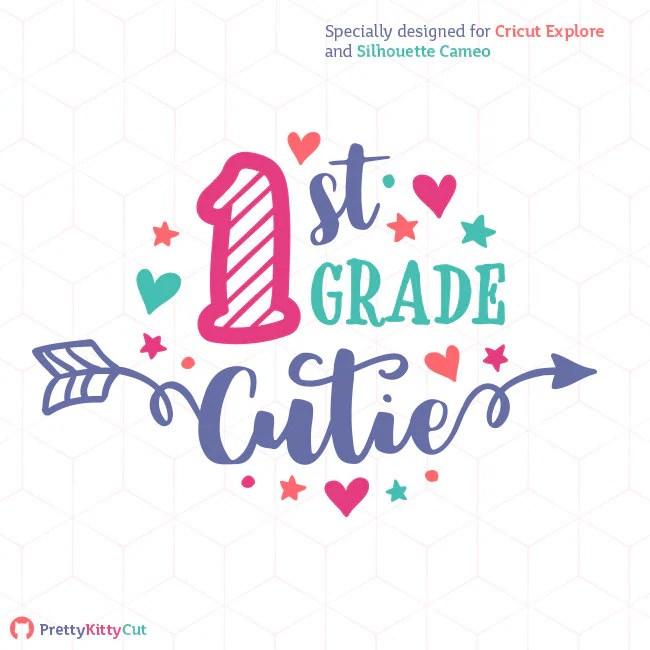 Download 1st Grade Cutie SVG School Girl Fun Arrows Cricut First Grade