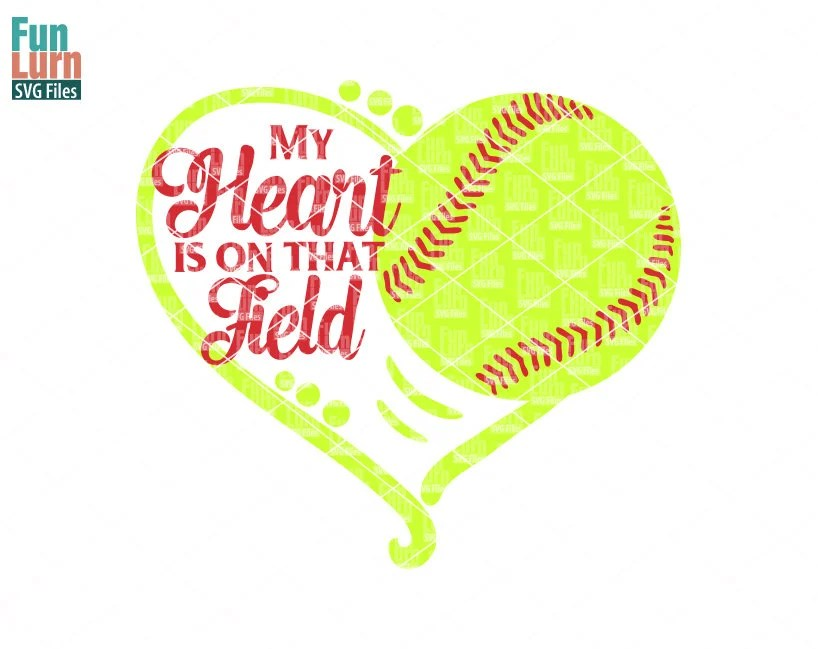 Download My heart is on that field, Softball heart SVG, Softball ...