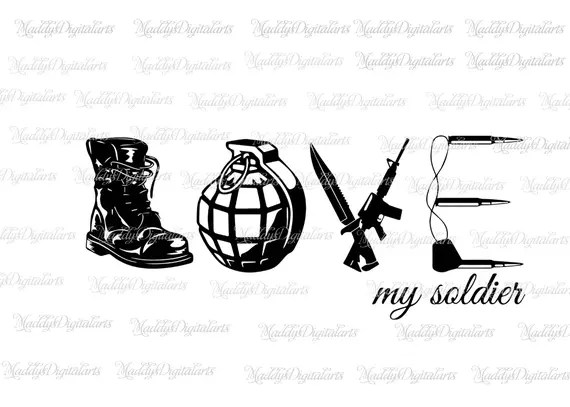 Download Love Army SVG PNG DXF Cut File for Silhouette Cricut Scan n