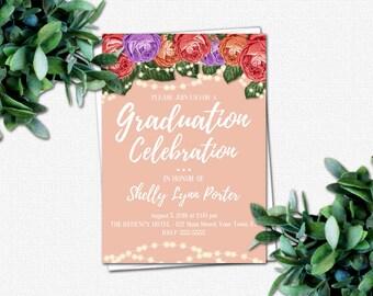 PRINTABLE Invitations - DIY High School Graduation Invitation - College Graduation Invitation - Grad Party Invitations | Roses & Sparkles 2