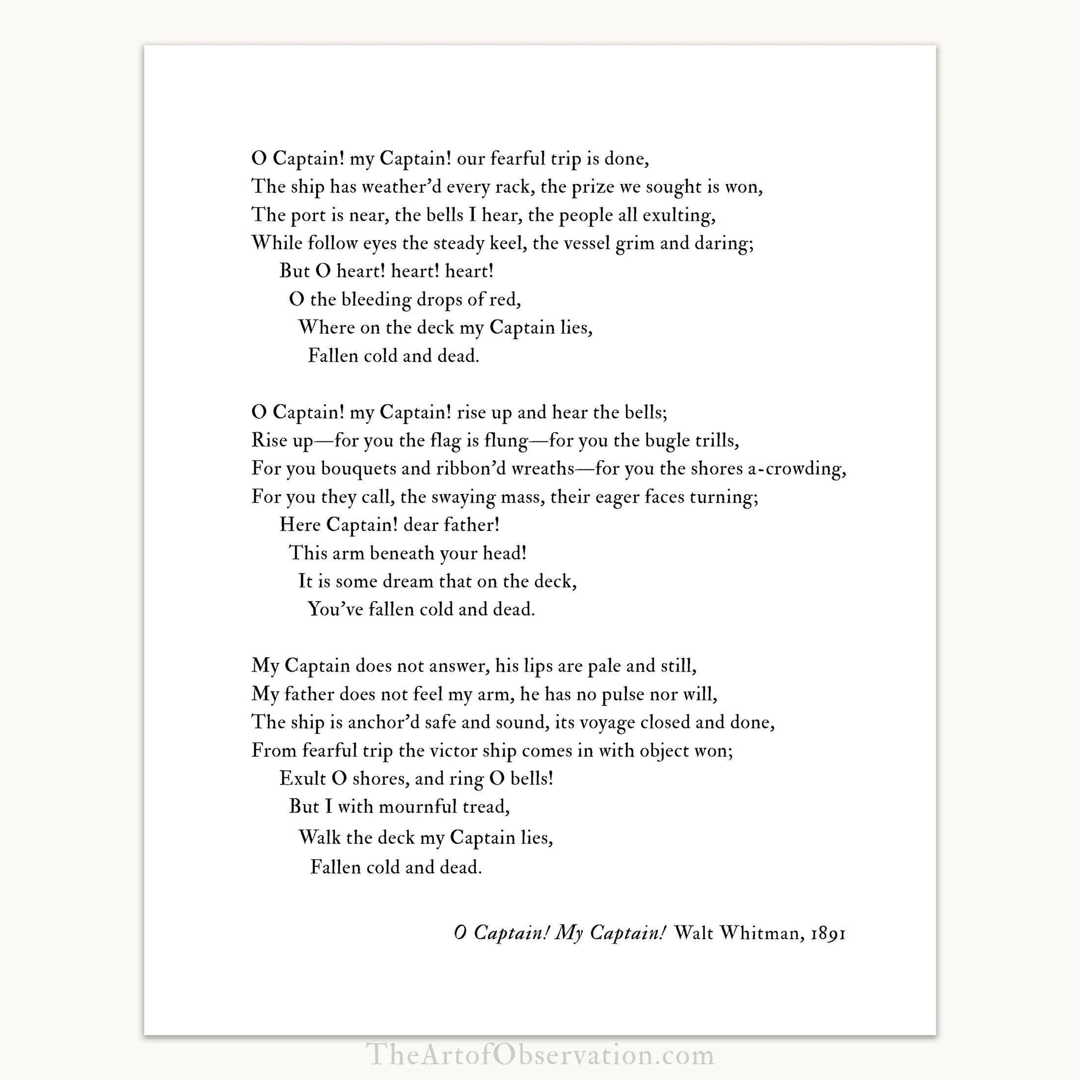 Walt Whitman Poem O Captain My Captain Poem Print