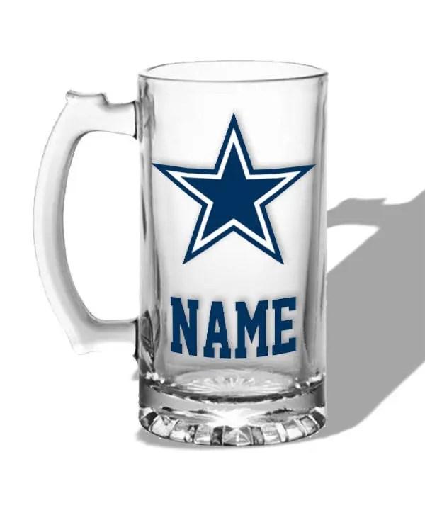 Personalized Beer Mug Dallas Cowboys Gift