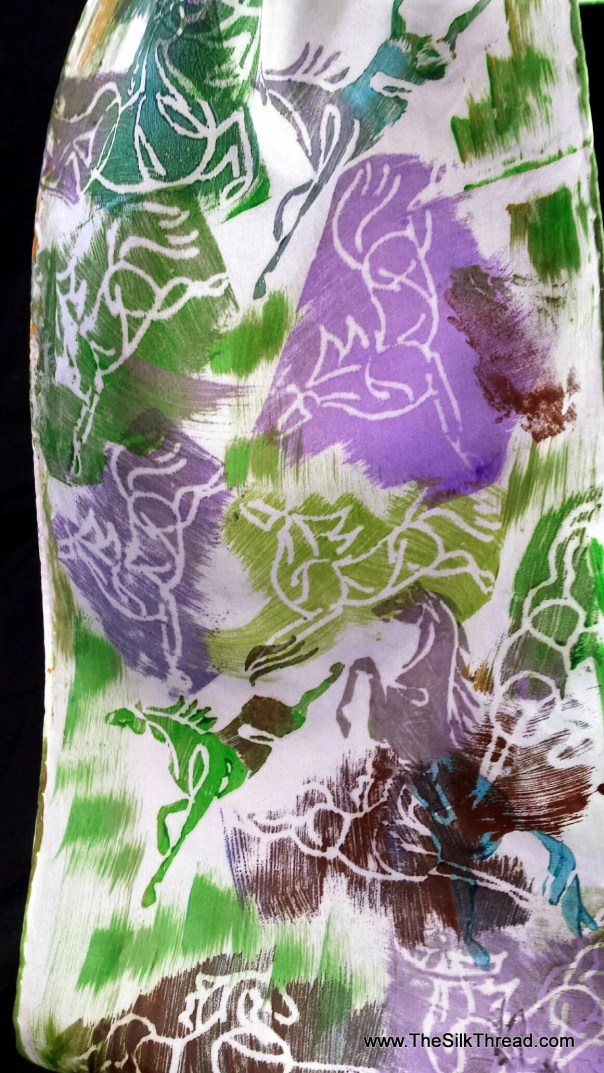 Horse Silk Scarf, Patches of Green, Purple, Turquoise Galloping Horses, Unique Design,Hand Carved by Artist, Equine Art, FREE ship USA BP28E
