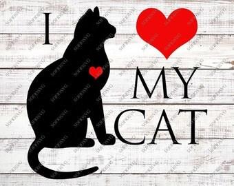 Download I love cats svg | Etsy
