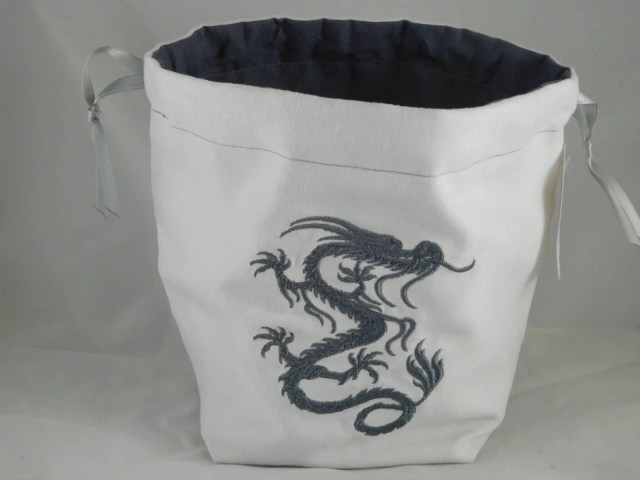 Grey Chinese Dragon on wh...