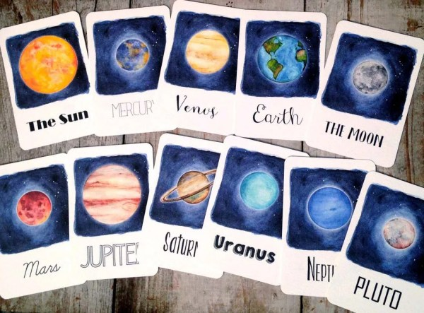 Solar System Flash Cards Homeschool Educational Classroom
