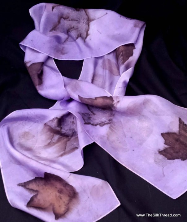 """Spring Time Lilac Silk Scarf,  Ecoprinted Design with Maple & pecan by Artist, Unique Slow Fashion art, 8"""" x 72"""" 126F, Free USA shipping"""