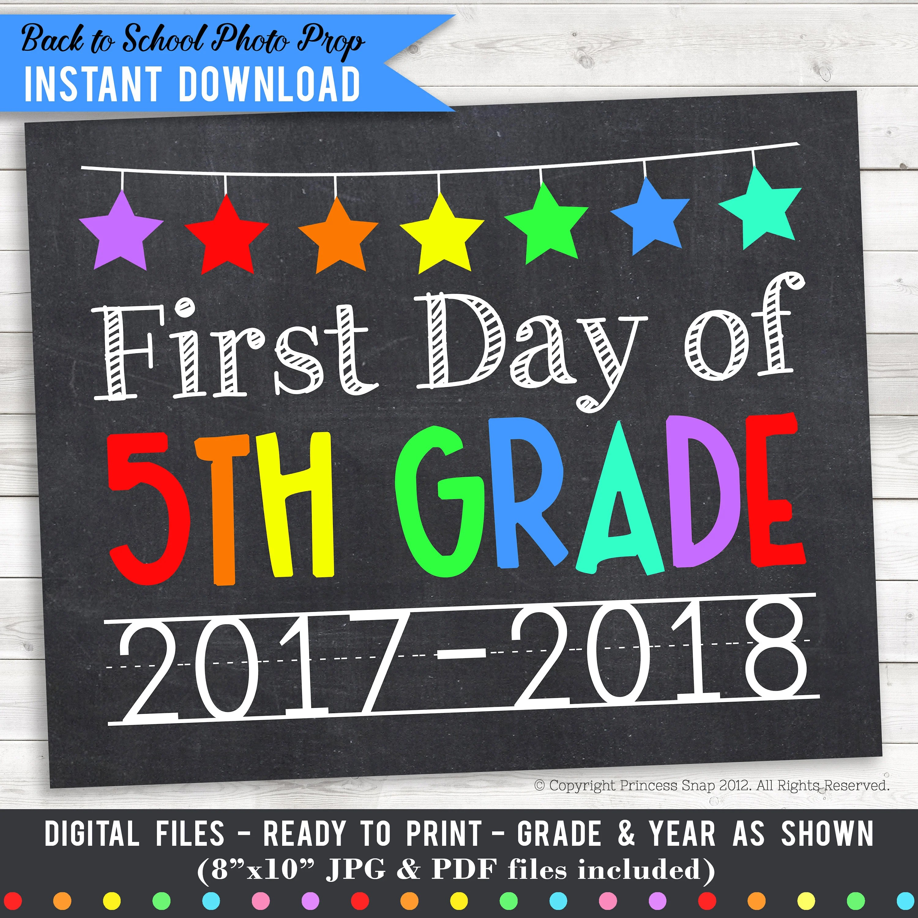 First Day Of 5th Grade Photo Prop Rainbow First