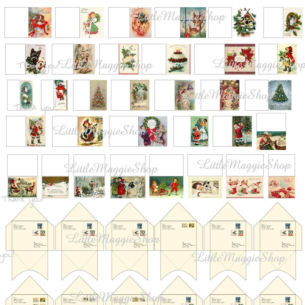 Printable Christmas Dollhouse Miniature Greeting Cards With Envelopes 1 12 Scale Download From
