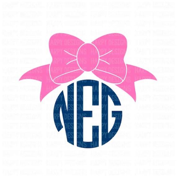 Download Bow Monogram SVG Bow SVG File Cricut Cut Files Silhouette