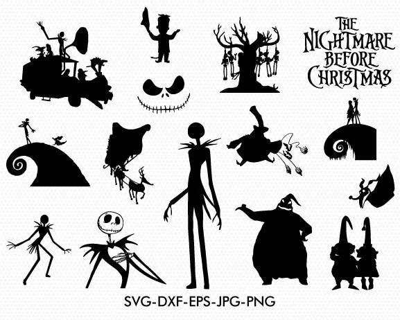 Download The nightmare before christmas silhouettes svg The nightmare