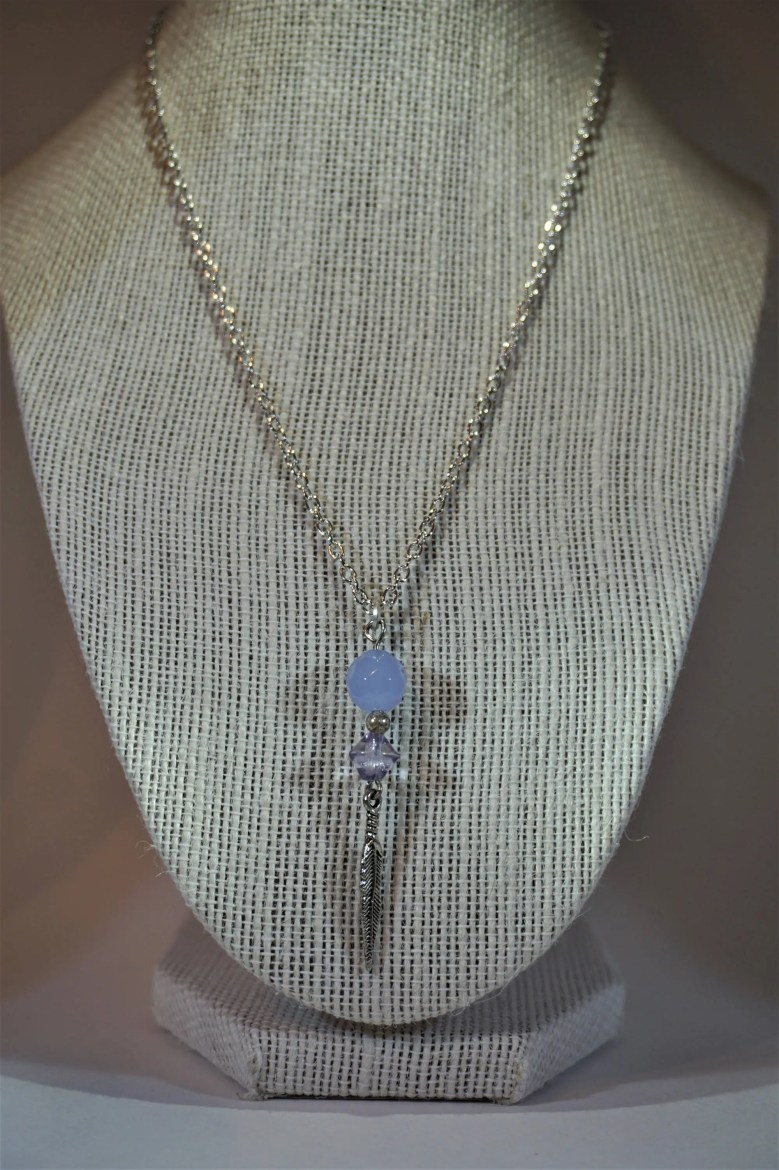 Silver Feather Necklace w...