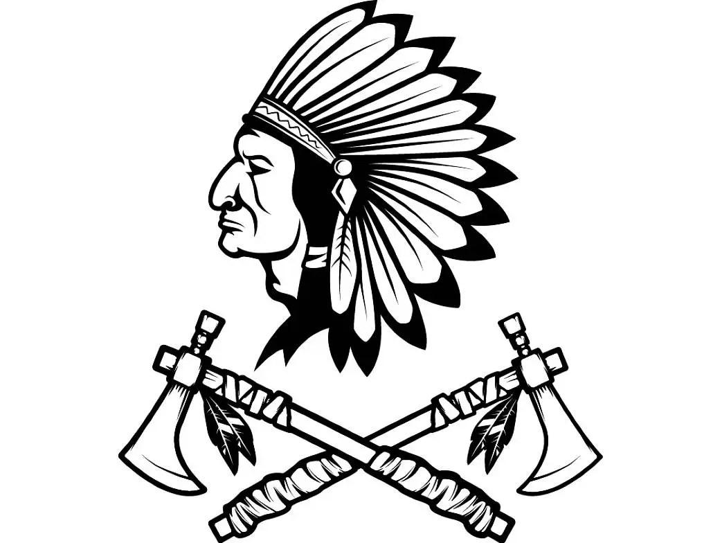 Indian Logo 10 Native American Warrior Tomahawk Axe