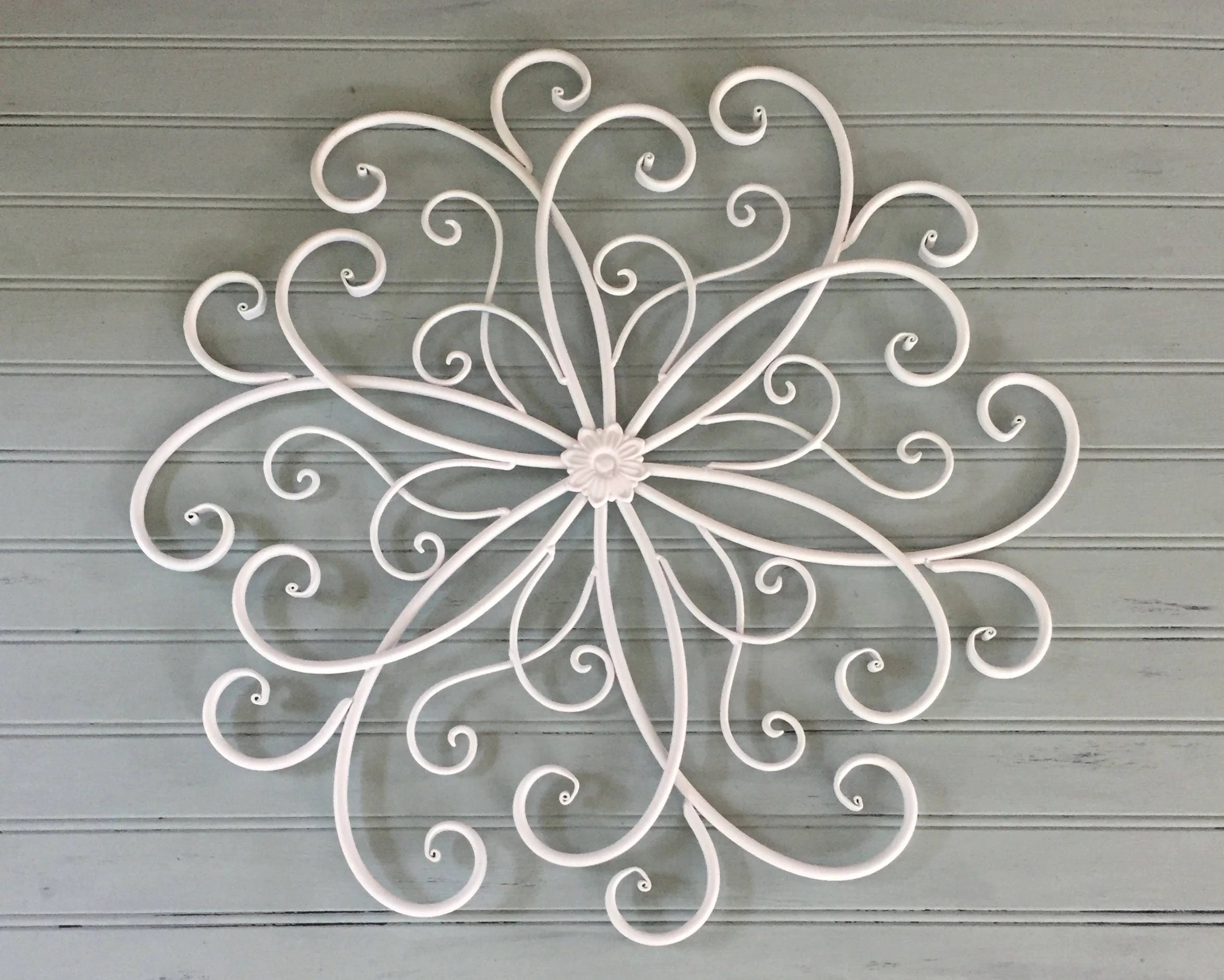 White Metal Wall Hanging /Large Metal Wall Decor / Decorative