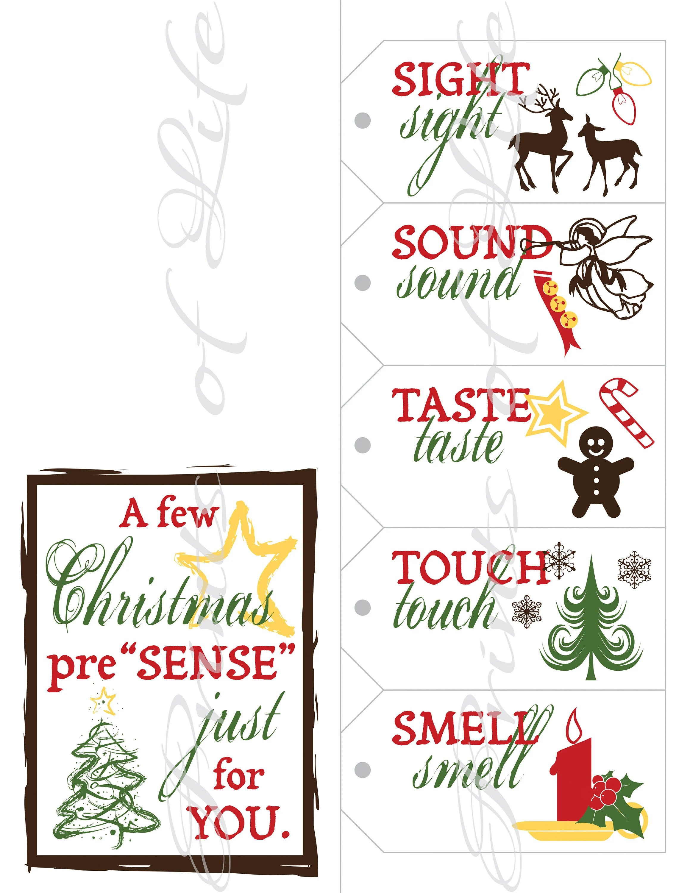 Five Senses T Tags Amp Card Instant Download Printable 5 Senses Christmas T For Him Her