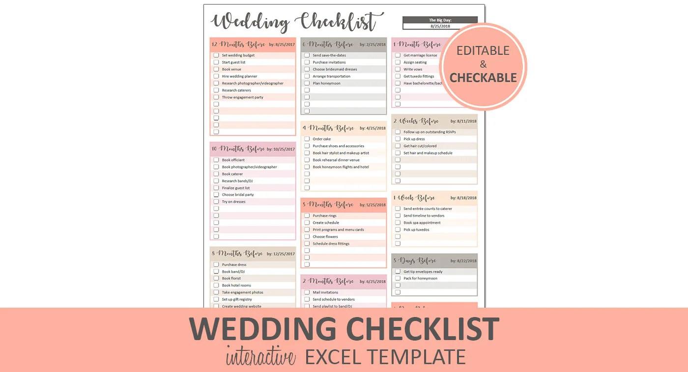 Peachy Wedding Checklist Excel Wedding Checklist Spreadsheet