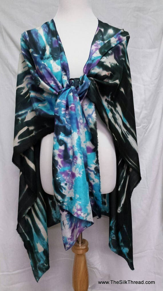 Beautiful Silk Shawl, Cape, Wrap, Abstract Design by Artist, Hand Dyed in Black, Turquoise and Purple, Fits Everyone, FREE Ship USA OOAK
