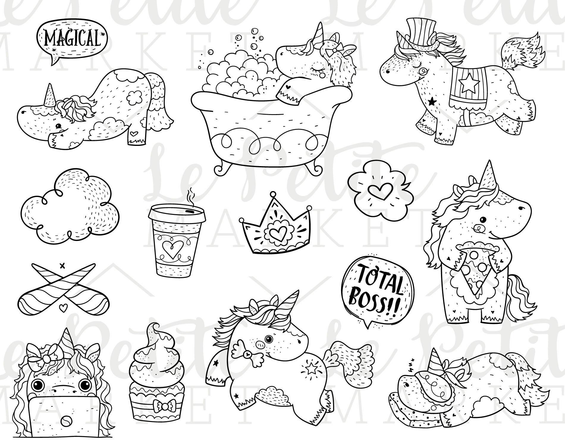 Unicorn Digital Stamp Bundle Kawaii Unicorn Clipart