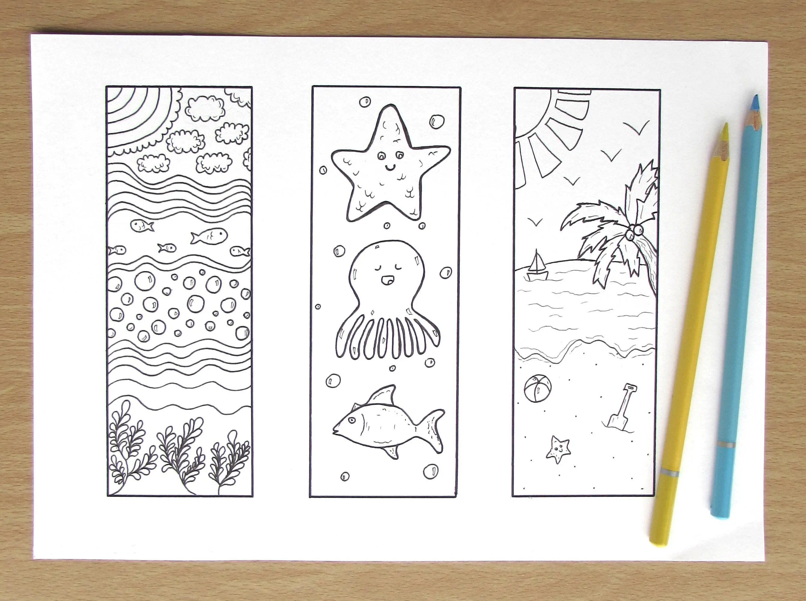 Under The Sea Bookmarks A4 Printable Colouring Page